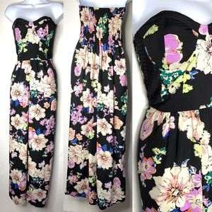 BAND OF GYPSIES Black Floral Strapless Jumpsuit S